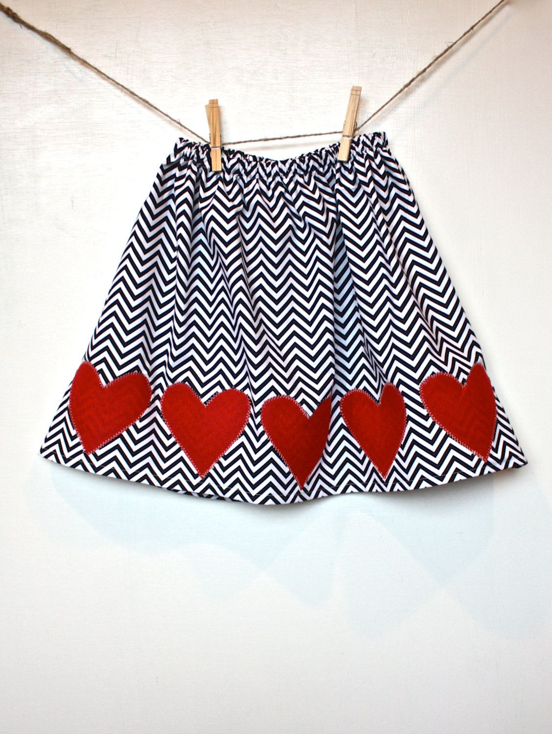 Twirly Red Wool Heart Applique and Chevron Skirt // Baby Skirt // Toddler Skirt. $28.00, via Etsy.