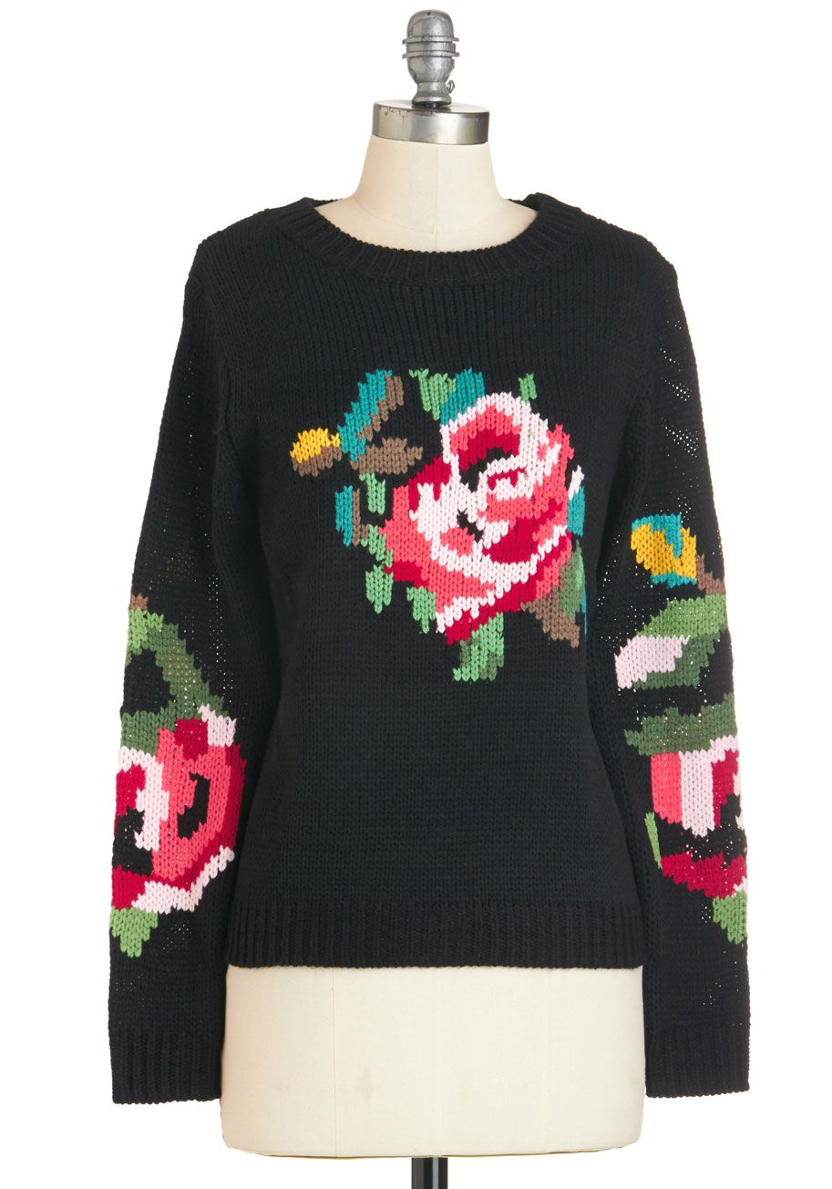 Pixelated Posy Sweater. You can really get into this black Louche sweaters rosy…