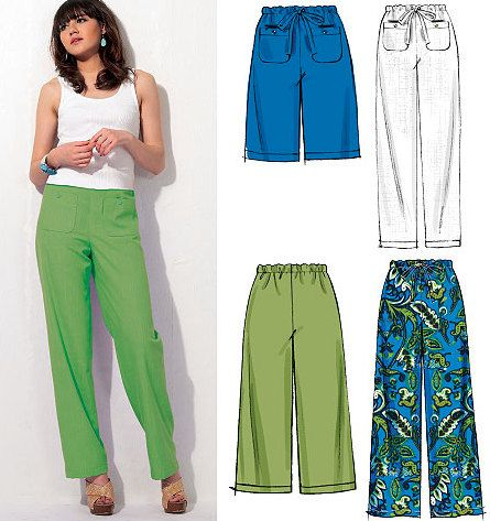 Plus Size Pants Shorts Capri Sewing Pattern Easy Loose Fitting