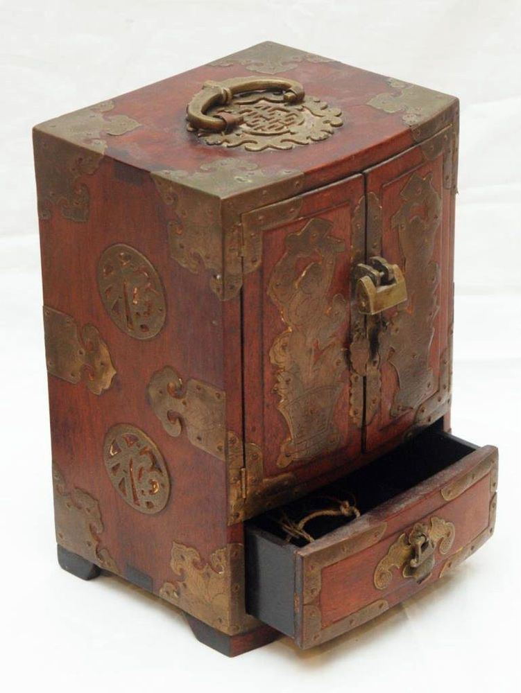 Antique Chinese 19001940 Wood and Brass Red Jewelry Box Handle