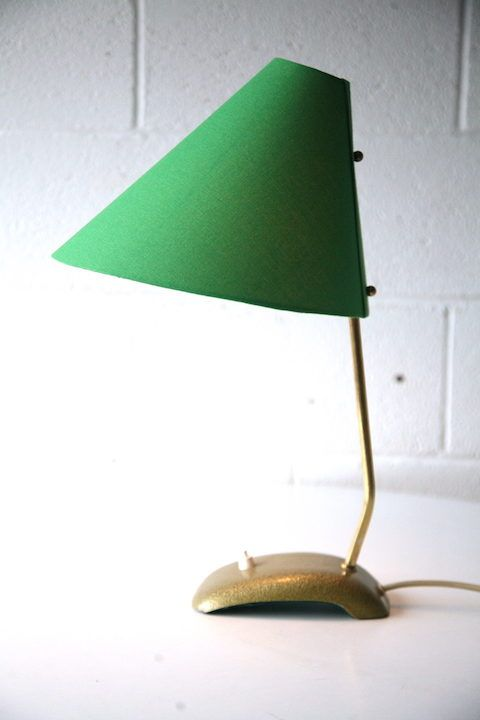 1950s Green Desk Lamp Desk Lamp Green Desk Fabric Shades