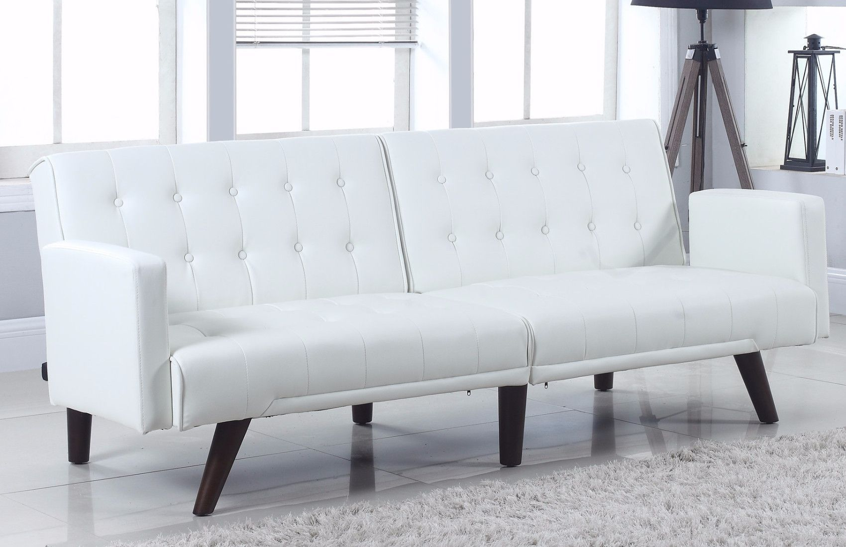 Modern White Leather Sleeper Sofa Small Modern White