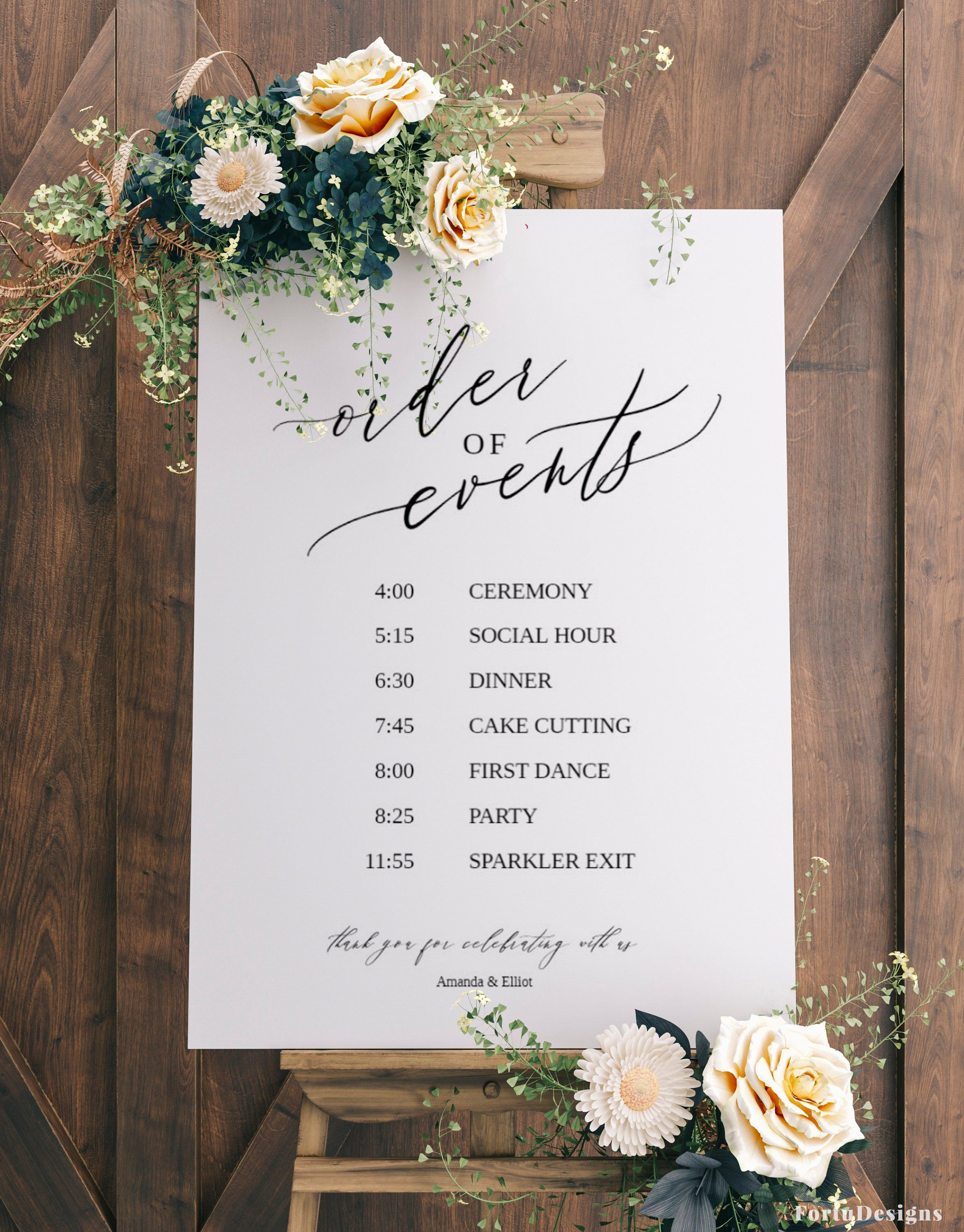 Order Of Events Wedding Sign Template Wedding Timeline Sign Printable Wedding Itinerary Sig Wedding Itinerary Wedding Timeline Wedding Schedule Wedding order of events template