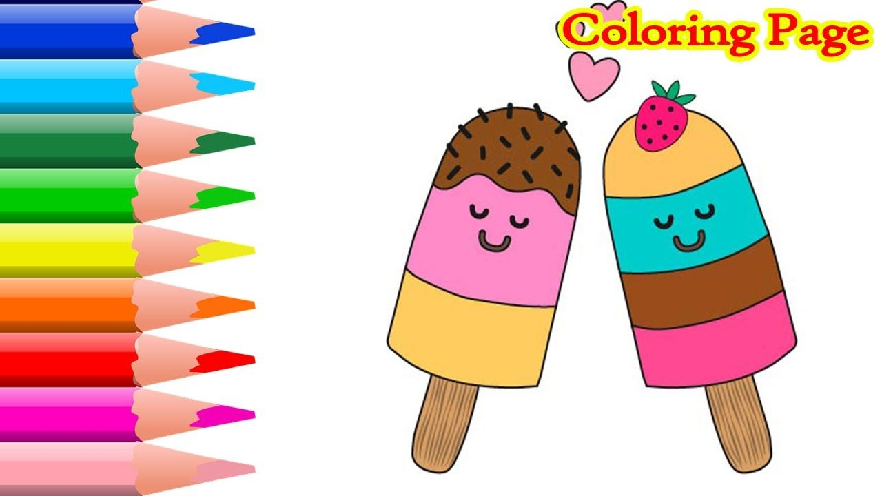 Ice cream coloring pages art colours for kids with colored markers