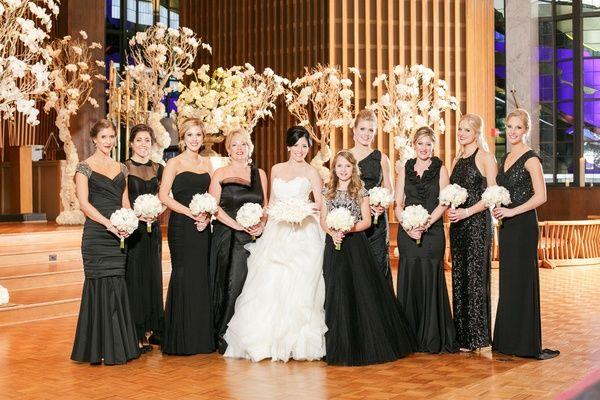 Bride In Lazaro Ball Gown Bridesmaids Mismatched Black Dresses Junior Bridesmaid