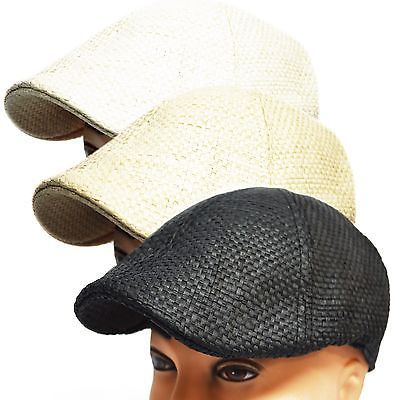a9e84dac945 NEW COOL MEN S SUMMER WOVEN STRAW NEWSBOY DUCKBILL DRIVING CABBIE IVY CAP  HAT