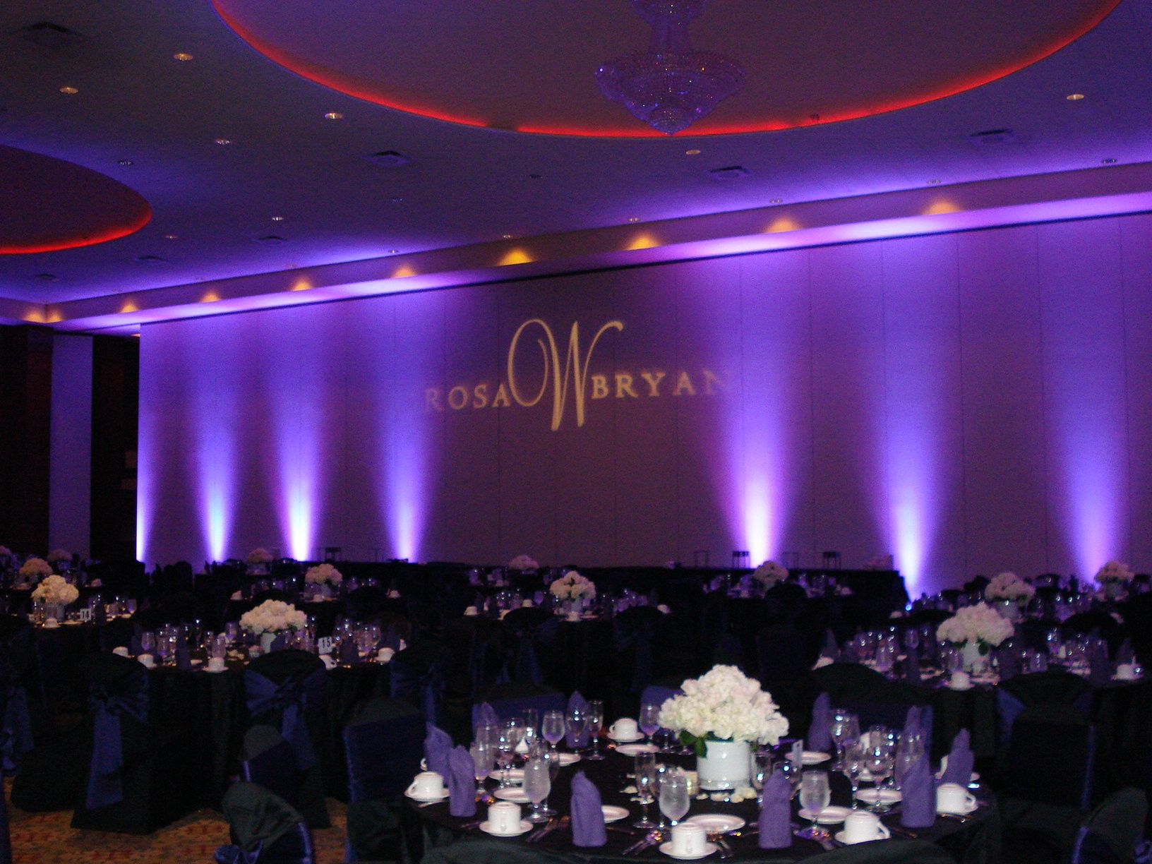 Simple yet elegant lavender theme backdrop with dim lights