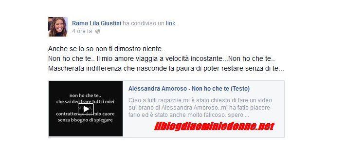 Rama Lila Giustini manda un messaggio al suo Jonas Berami su facebook dedicandogli una canzone ma oggi ne vedremo veramente delle belle