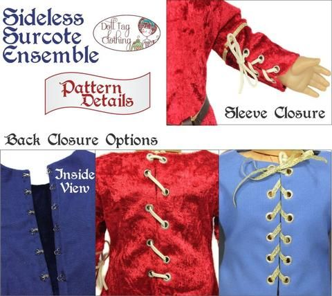 Sideless Surcote Ensemble Medieval Collection 18 Doll Clothes Pattern #historicaldollclothes