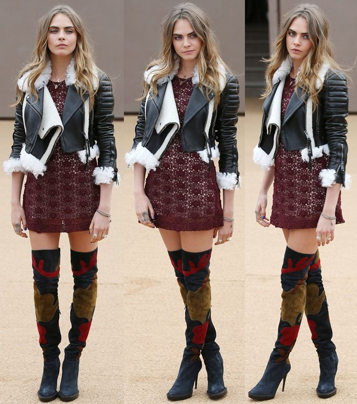 Cara Delevingne in Fierce Over-the-Knee Suede Burberry Graphic Print Boots