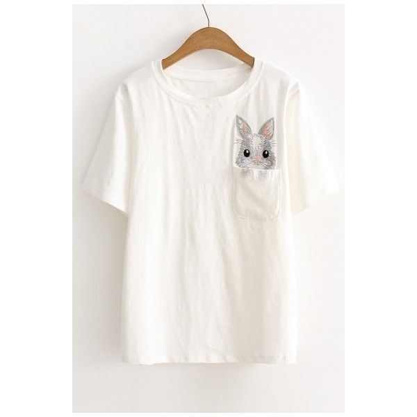 Cute Pocket Embroidery Rabbit Pattern Short Sleeve Round Neck Tee (£21) ❤ liked on Polyvore featuring tops, t-shirts, white cotton t shirts, white pocket t shirt, cotton t shirts, pocket t shirts and embroidered t shirts