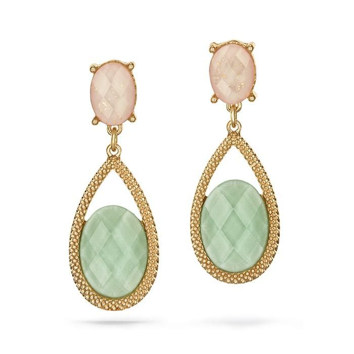 Gorgeous Drop Earrings With An Oval Faceted Glittery Green Stone