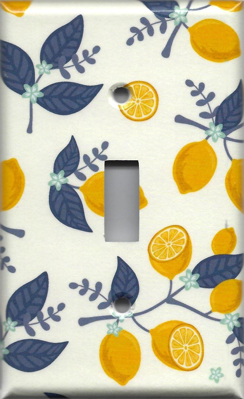 Lemons with Navy Leaves Kitchen Decor Light Switch Plates and Wall ...