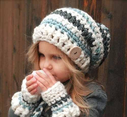 gorros niños y adultos caido largo pompon tejidos a crochet  271fecee31f