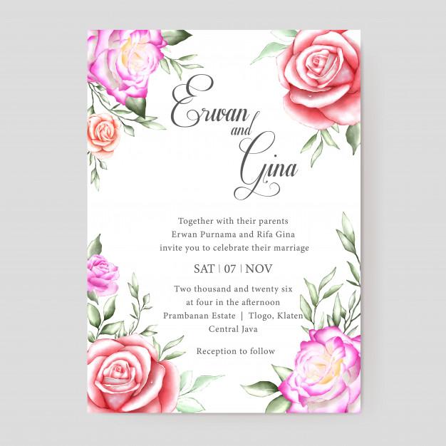 Floral Wedding Invitation Template Card Design Floral Wedding Invitations Simple Wedding Invitation Card Wedding Invitation Templates