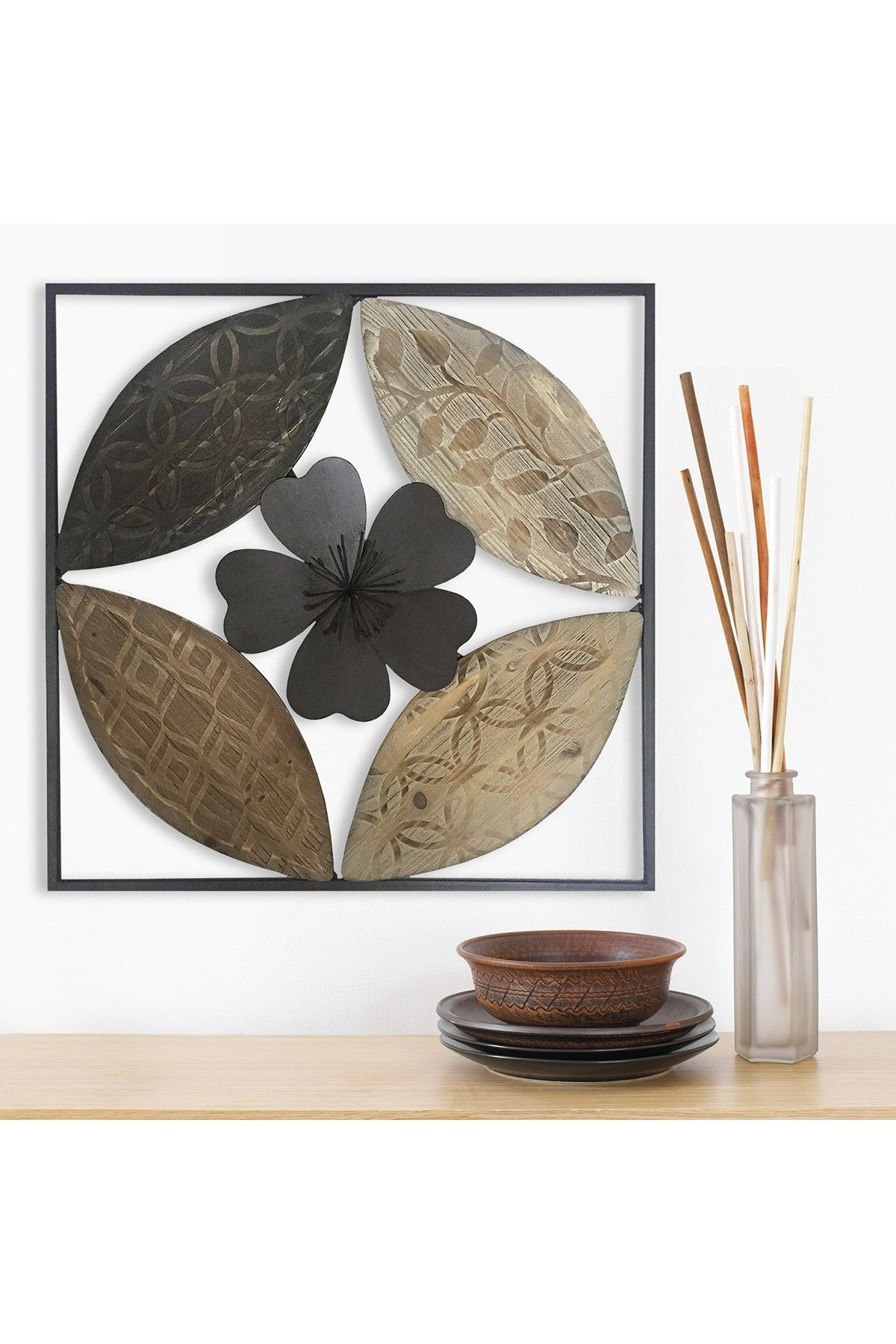 Flower carved wood multicolor wall decor by stratton home on