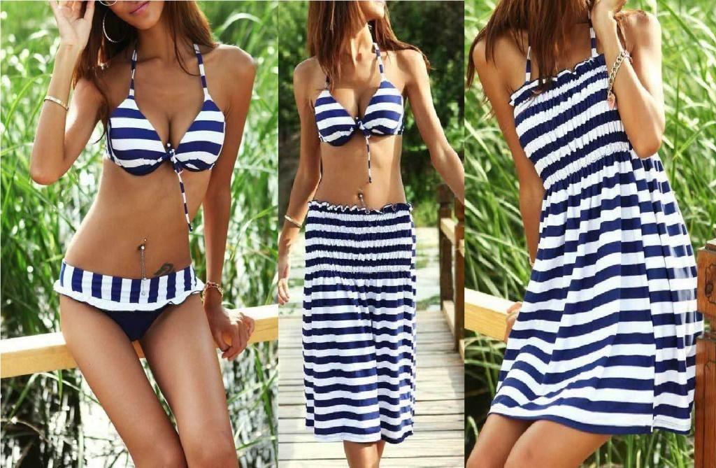 Stroj Kapielowy Dwuczesciowy Paski Sukienka Xl 42 5182174750 Oficjalne Archiwum Allegro Swimwear Bikinis Womens Swimwear