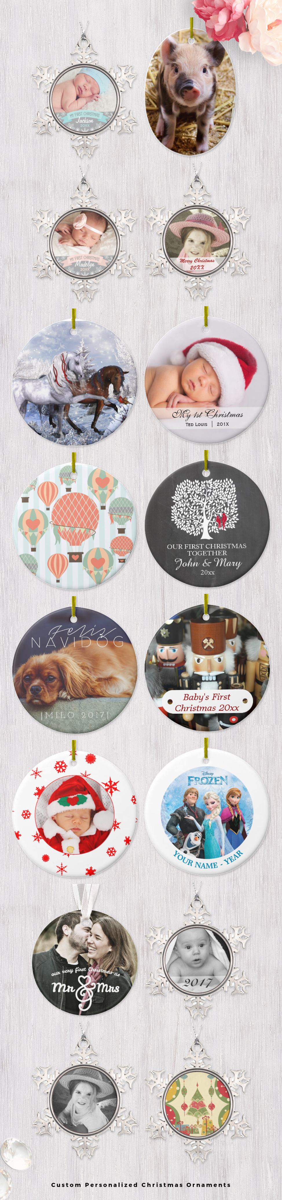 Design your own christmas ornaments - Custom Personalized Christmas Ornaments Design Your Own Christmas Tree Ornaments With Your Own Photos And