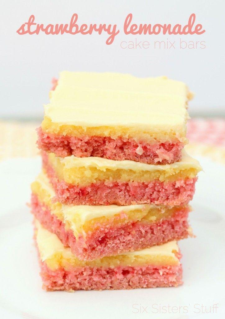 Strawberry Lemonade Cake Mix Bars Recipe Recipes Desserts