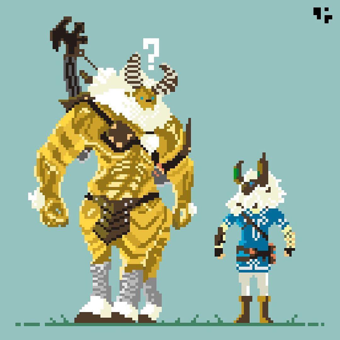 Legend Of Zelda Breath Of The Wild Inspired Pixel Art By