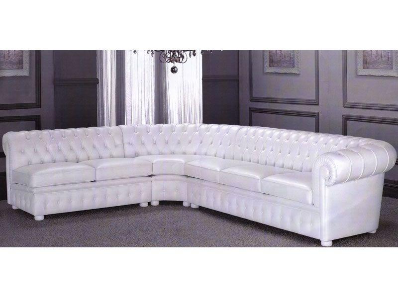 Huge Chesterfield #White #Corner #Sofa