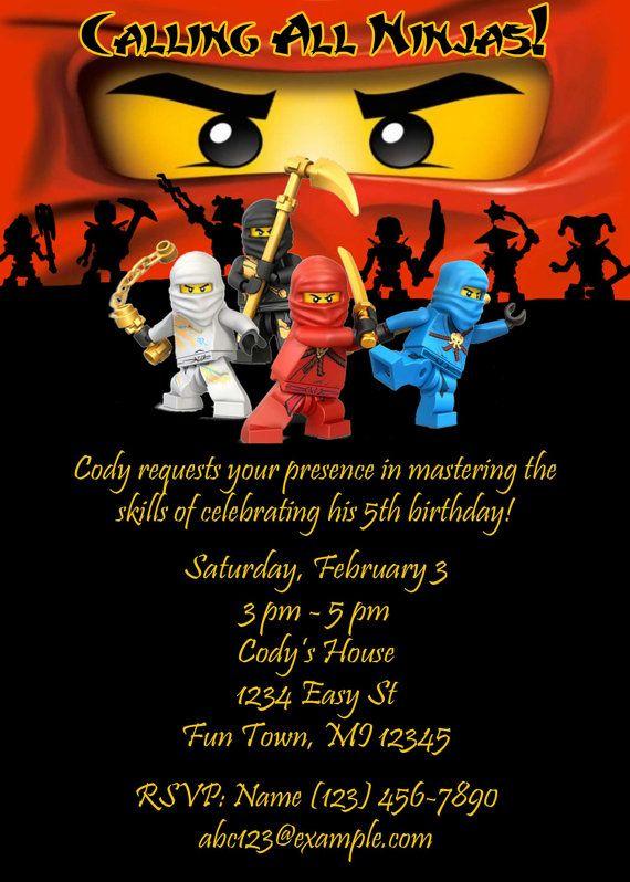 Printable Lego Ninjago Birthday Party Invite