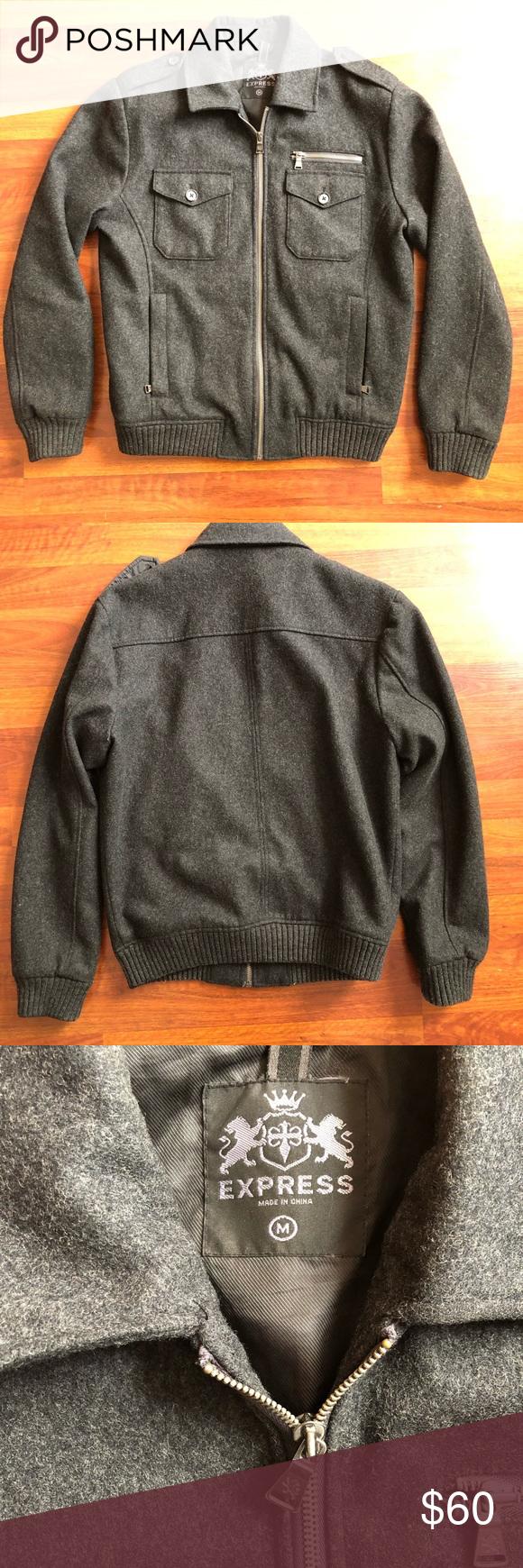 Express Men S Bomber Jacket Gray Wool Sz Medium Gray Jacket Clothes Design Bomber Jacket [ 1740 x 580 Pixel ]