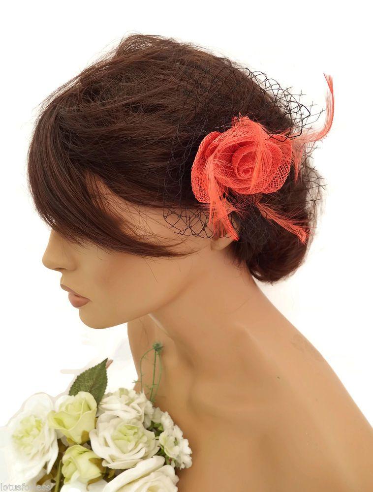 Elegant Small Black Net Coral Flower Design Hair Clip Grip Fascinator Races 2773c5dacb6