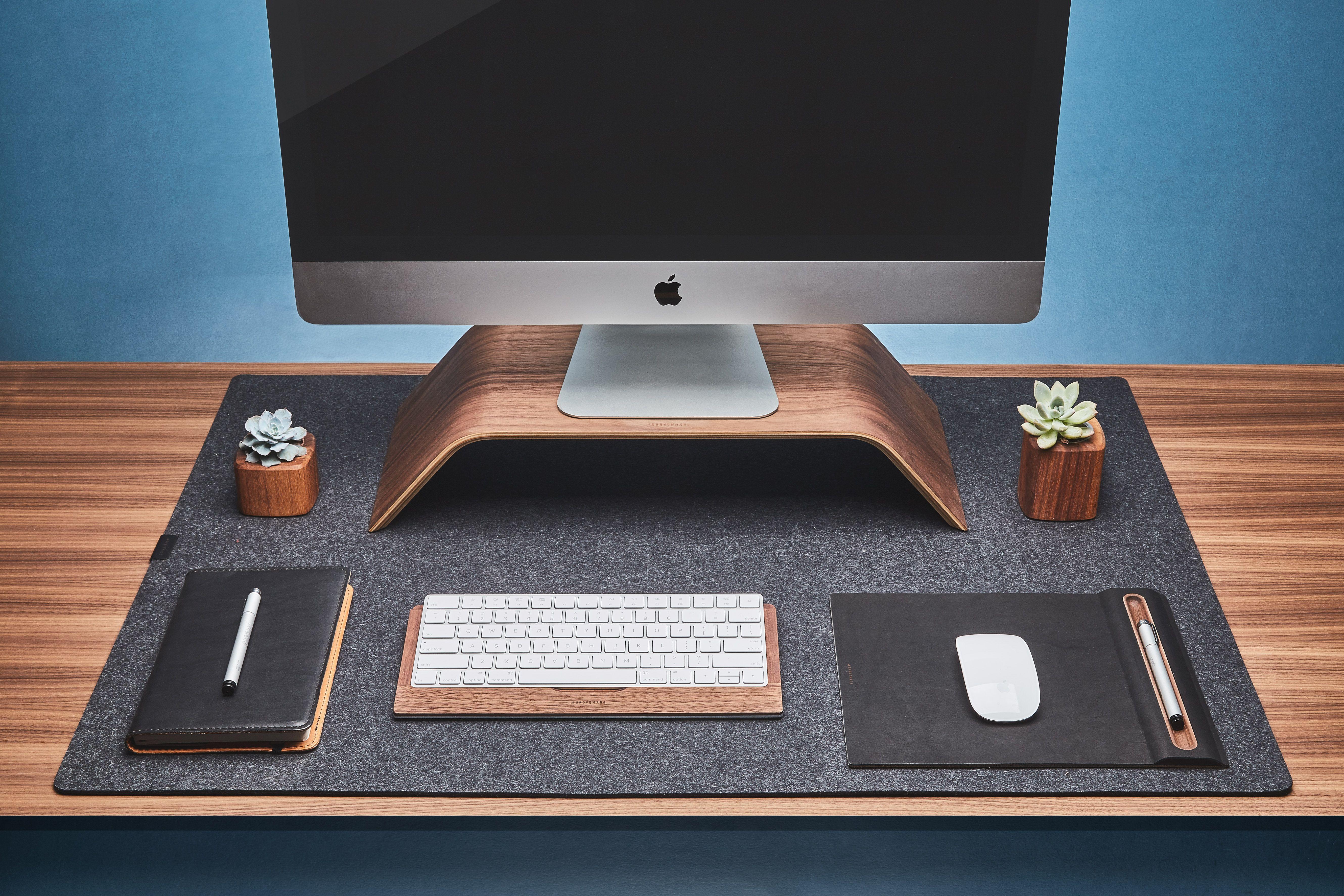 Wool Felt Desk Pad Dark Grey In 2020 Desk Pad Imac Desk Computer Desk Setup