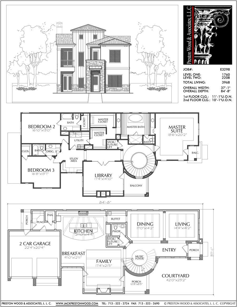 Two Story House Plan E3298 Two Story House Plans House Blueprints House Layouts