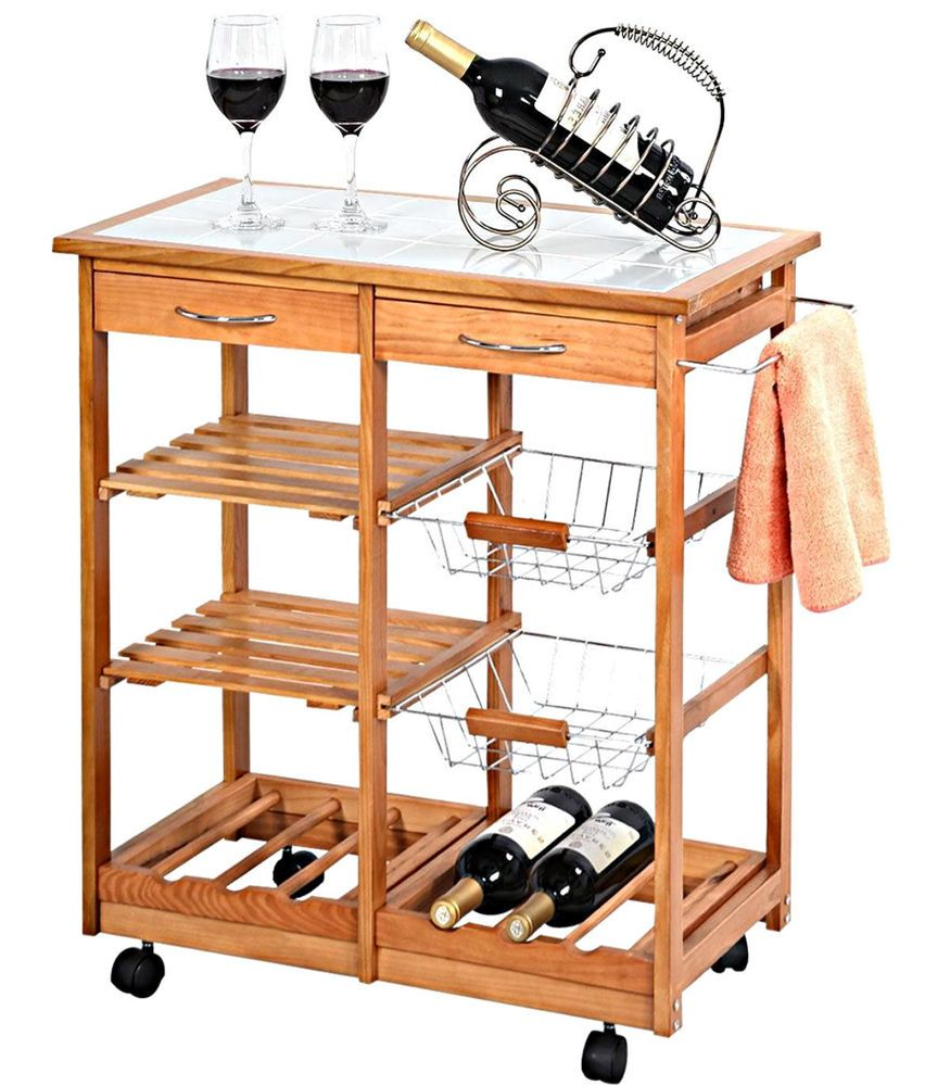 Kitchen Island Cart Rolling Trolley Storage Drawers Portable Cabinet Organizer  #Unbranded