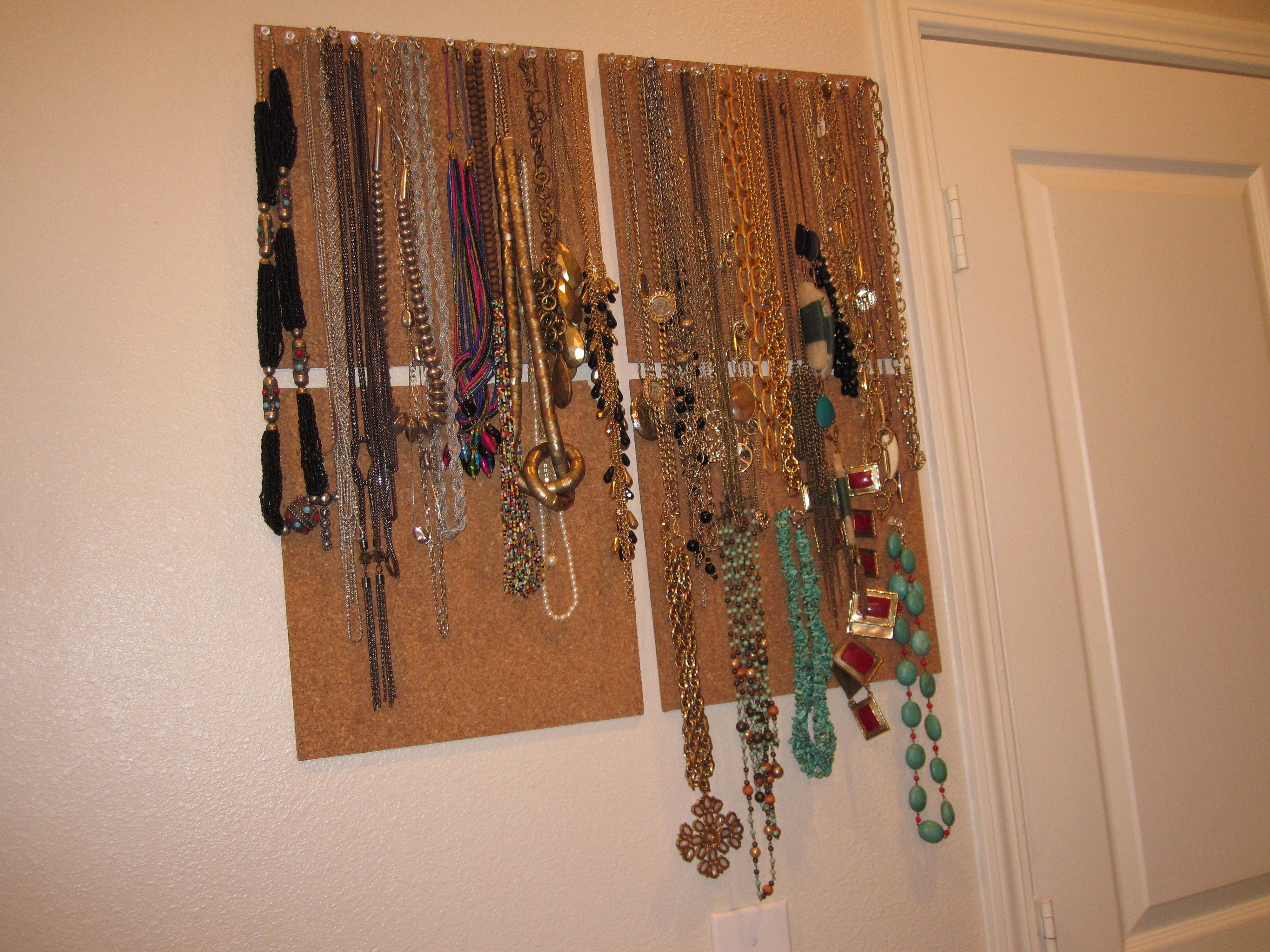 cork board and push pin jewelry organizer not charming but i could