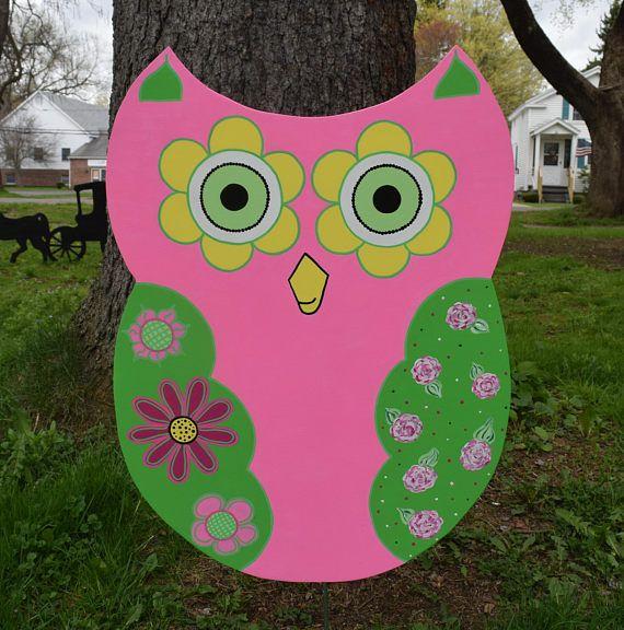 Owl Yard Art, Pink And Green Floral Owl Garden Stake, Owl Yard Stake,