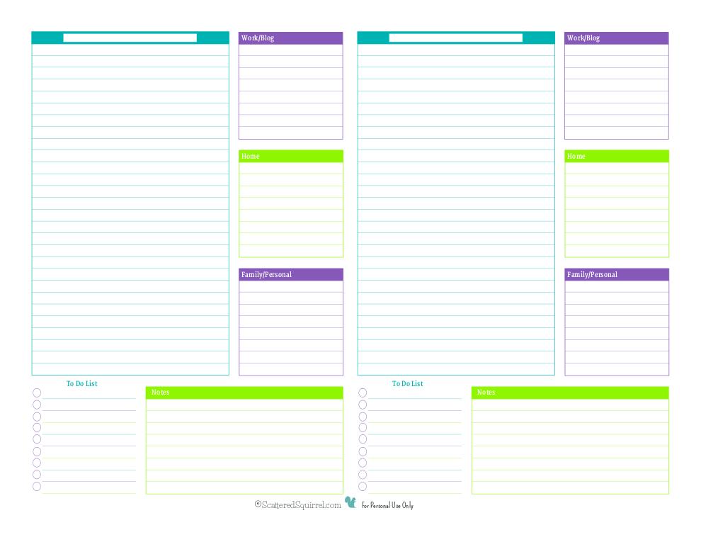 blank day planner