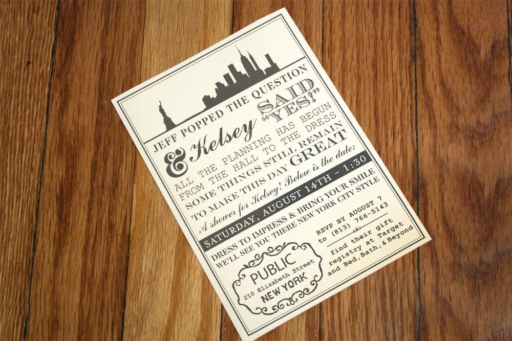 New York Themed Invitation 185 via Etsy Wedding Ideas