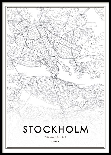 poster karta stockholm Poster med Stockholm karta. Snygg tavla, affisch i svartvitt  poster karta stockholm