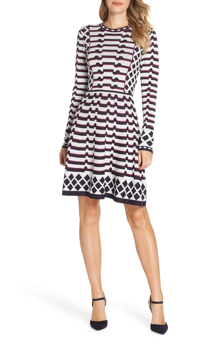 23525025519 Free shipping and returns on Eliza J Artwork Jacquard Sweater Dress  (Regular   Petite) at Nordstrom.com. Graphic contrasting patterns visually  shape and ...