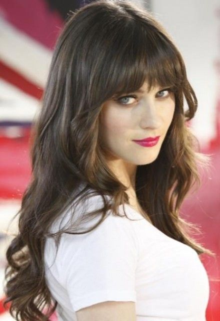 Zooey Deschanel Long Dark Hair With Bangs Hairstyle Zooey Deschanel Hair Hair Styles Long Hair With Bangs