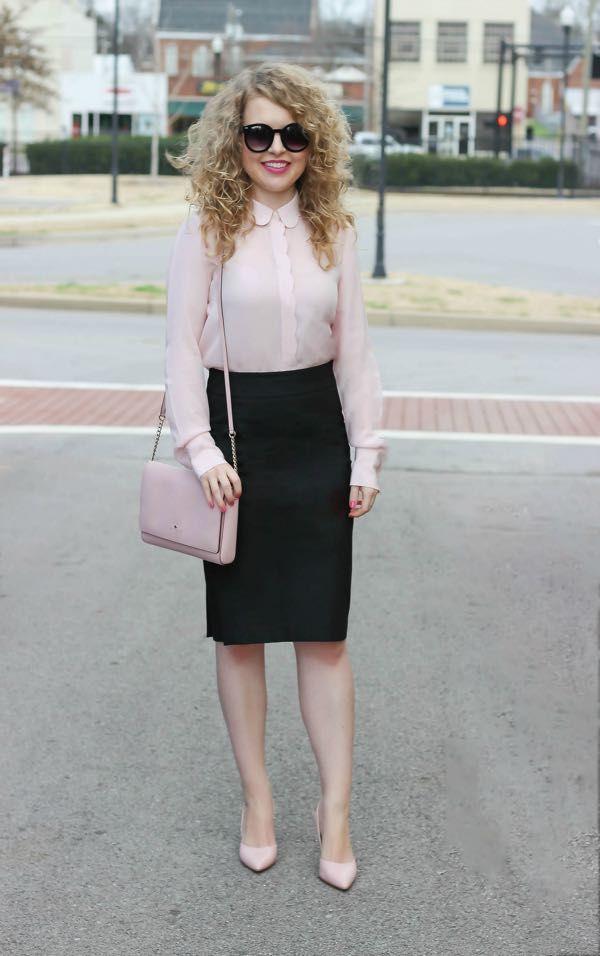 eb1a0fb5659d44 blush scalloped top black pencil skirt work outfit