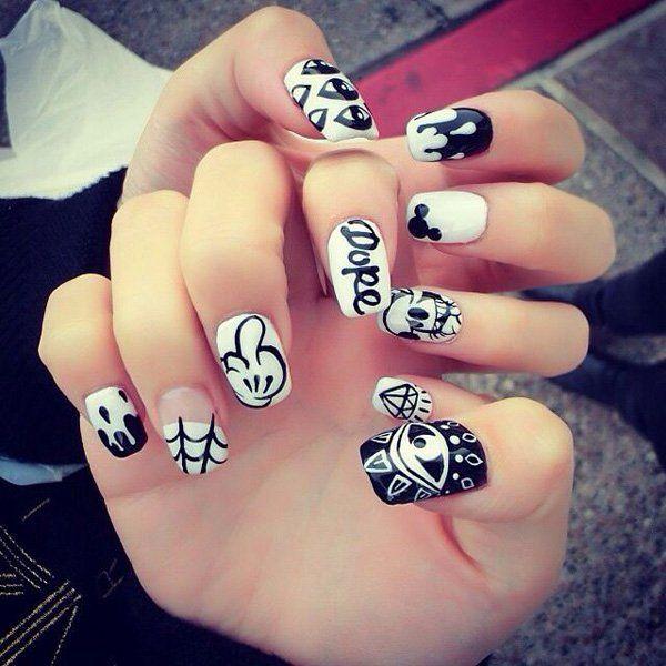 40 Increíbles y divertidos diseños para lucir unas uñas en blanco y ...
