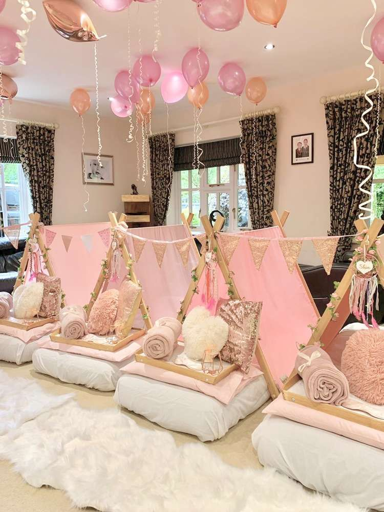 Rose Gold Pink And White Birthday Party Ideas Sleepover