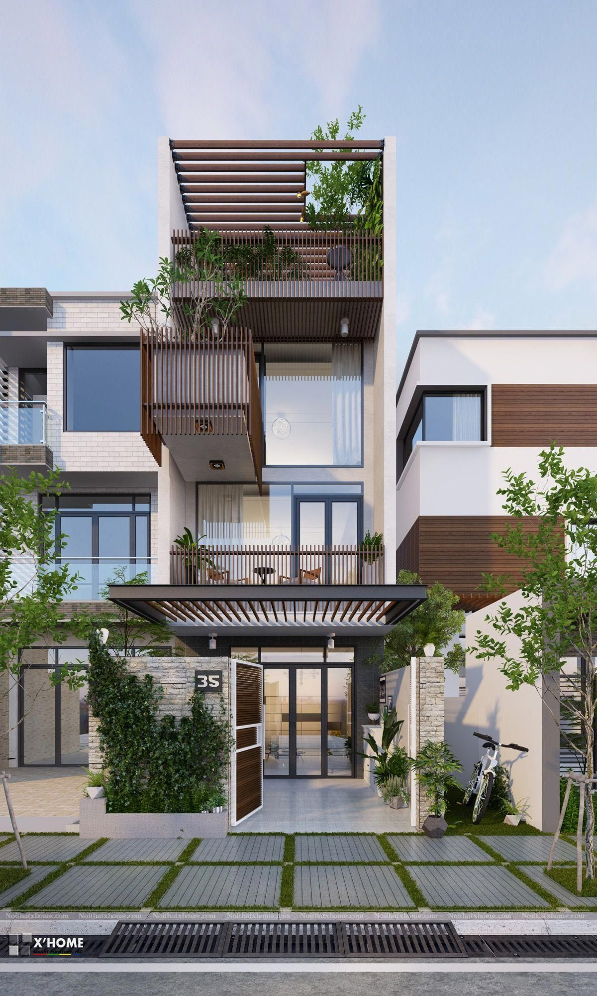 22 Modern Residences With Classy Exterior Designs: 50 Narrow Lot Houses That Transform A Skinny Exterior Into Something Special