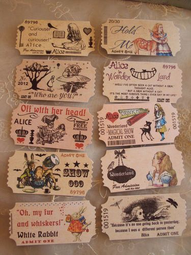 Set of  10 x assorted alice in wonderland style printed ADMIT ONE tickets