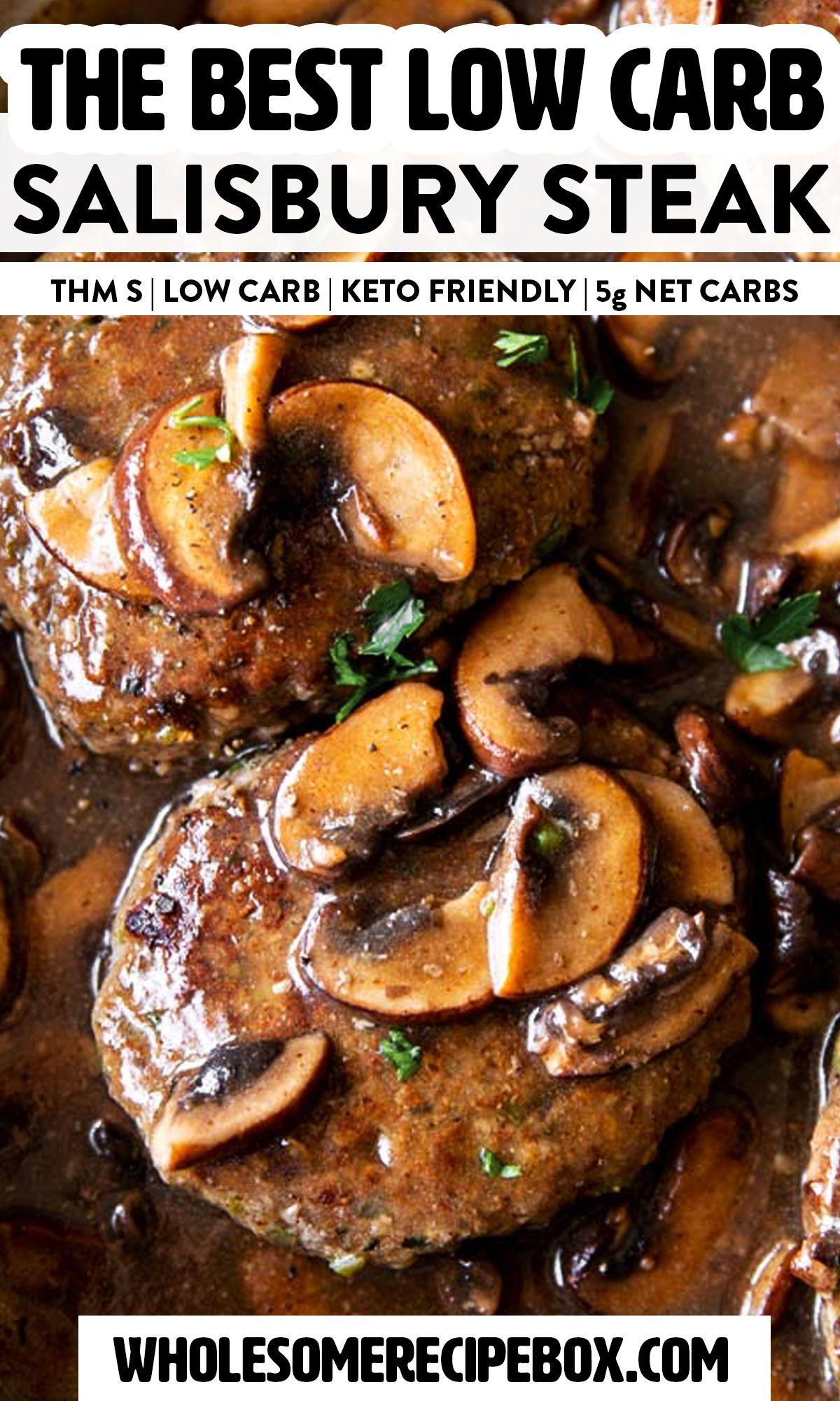 Salisbury Steak With Mushroom Gravy Thm S Low Carb In 2020 Homemade Salisbury Steak Comfort Food Recipes Dinners Salisbury Steak Recipes