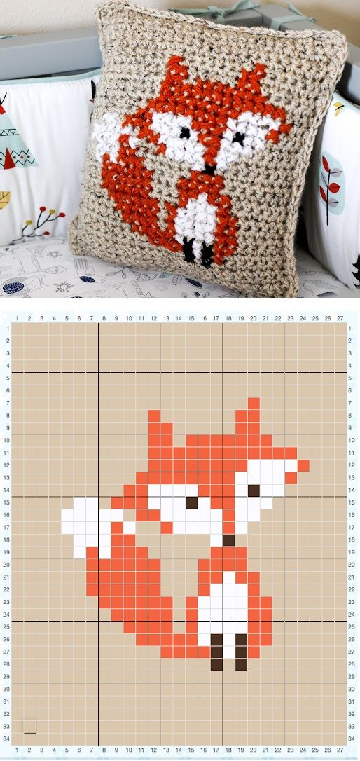 How To Cross Stitch On Crochet Parkers Fox Pillow вышивка