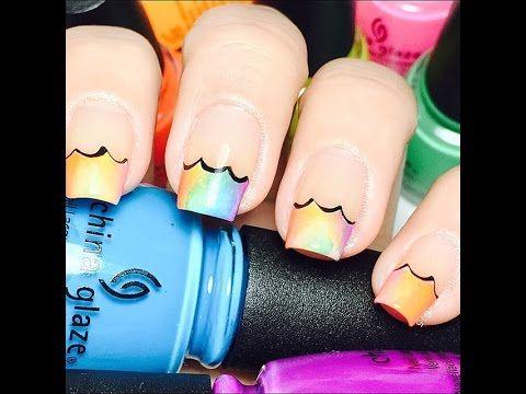 wavy rainbow tips  elegant nail designs simple nail art