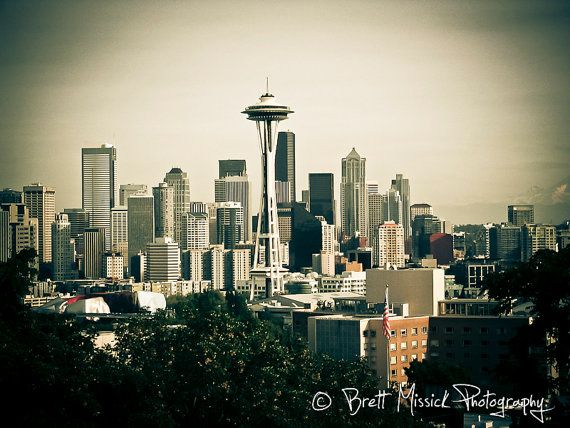 seattle skyline 8x10 16x20 24x30 vintage fine art print wall art