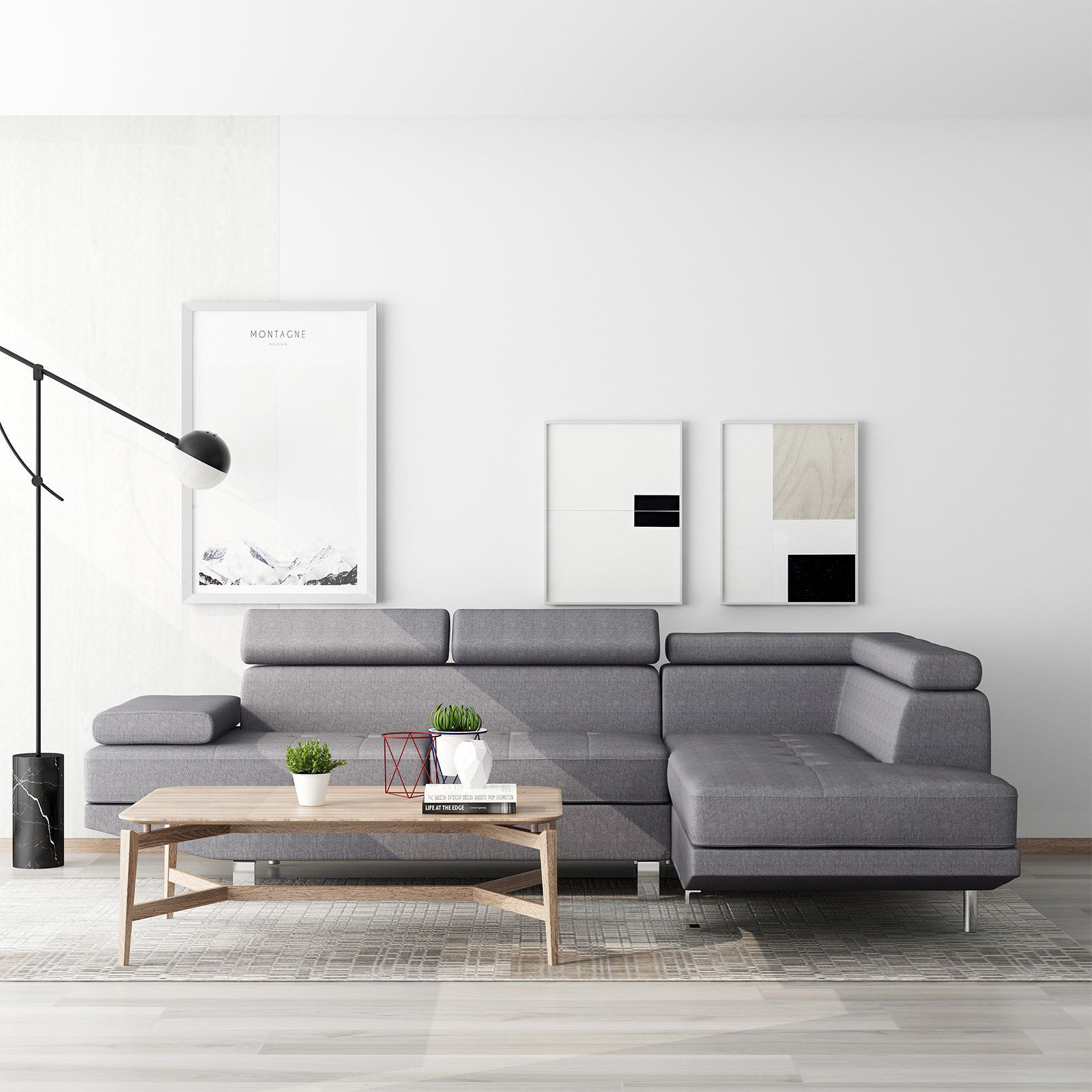 Grey Lounge Suite: Modern Grey Fabric Sectional Corner Sofa Chaise Lounge