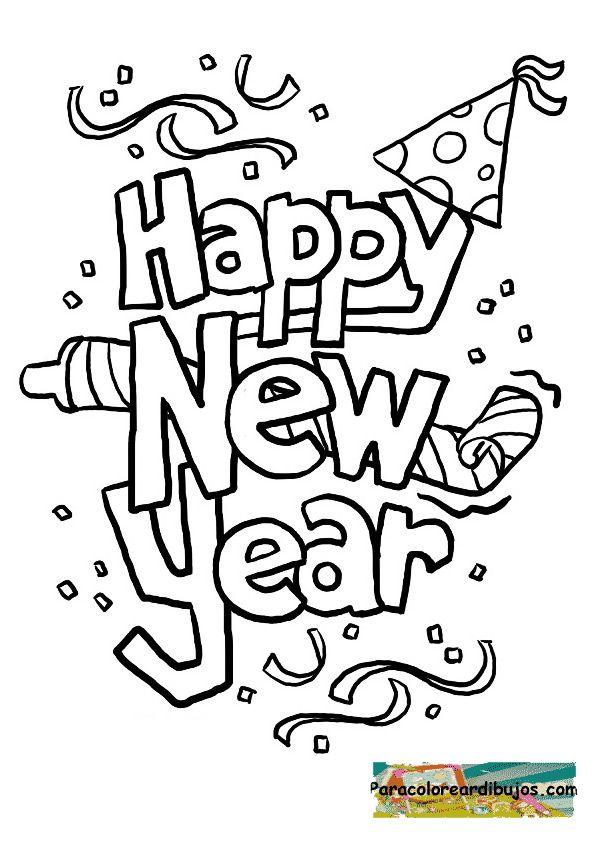 Feliz año nuevo para colorear | Christmas and New Year. Navidad y ...