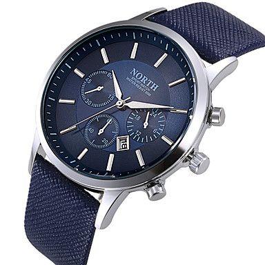 Hombre Reloj de Vestir Reloj de Moda Reloj de Pulsera Cuarzo Calendario Piel  Banda Negro Blanco Azul 2f15ce058e0a